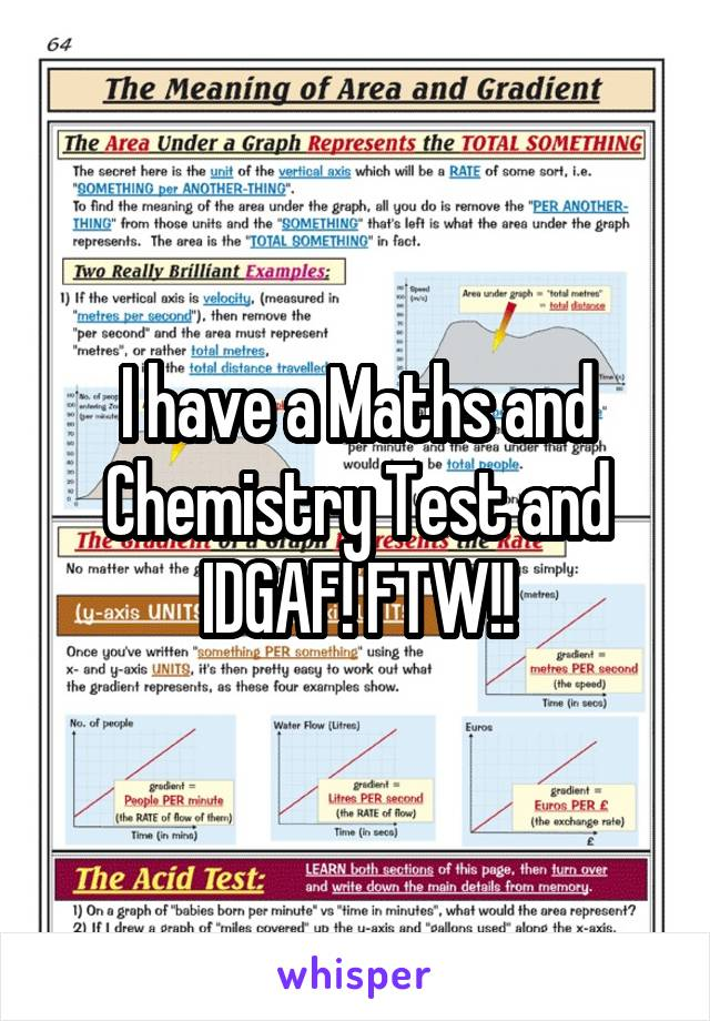 I have a Maths and Chemistry Test and IDGAF! FTW!!