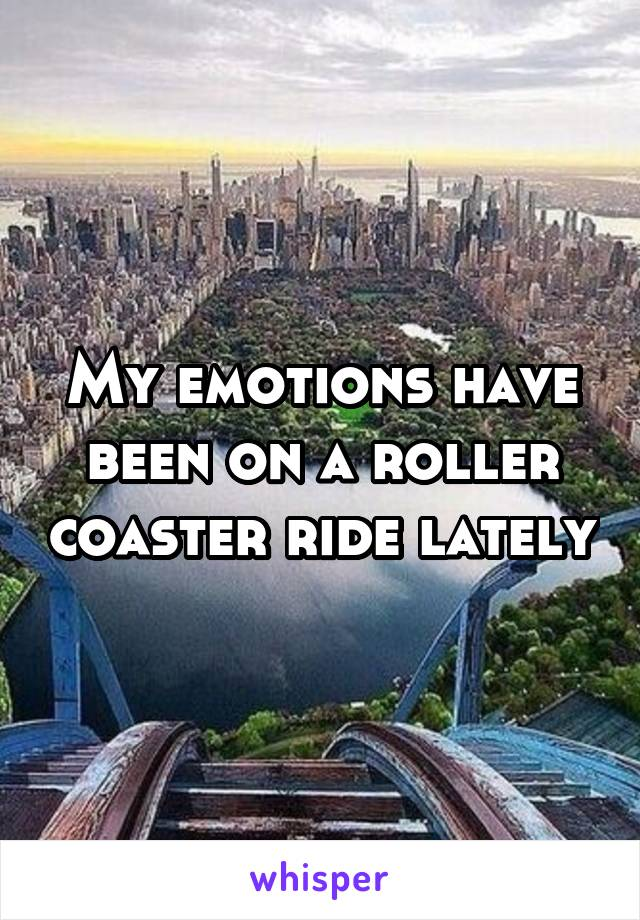My emotions have been on a roller coaster ride lately