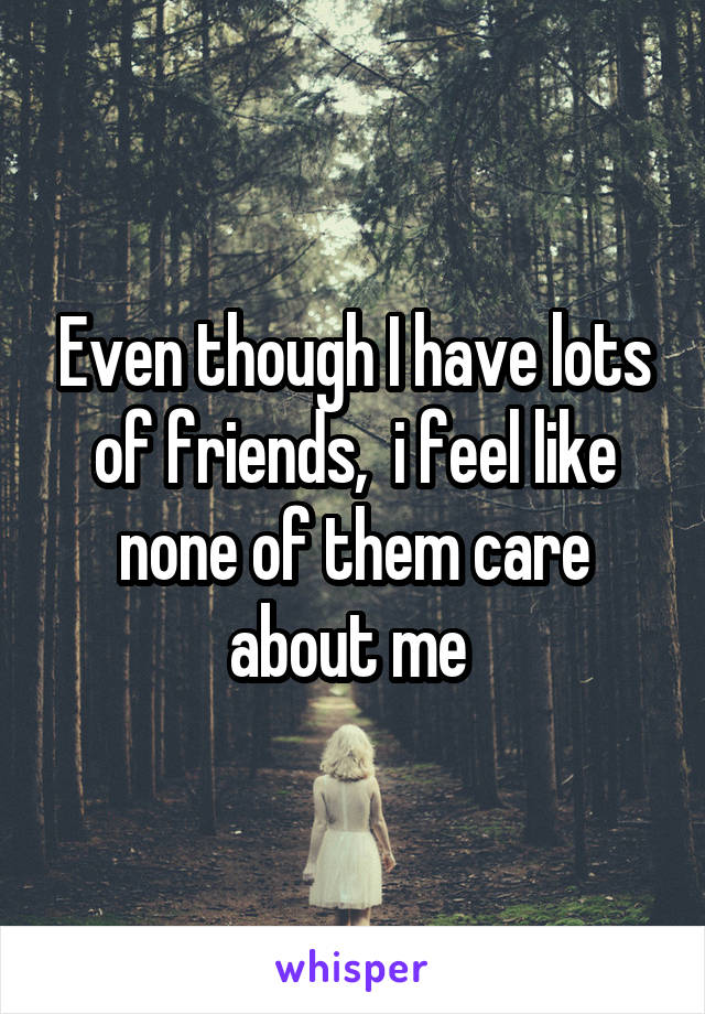Even though I have lots of friends,  i feel like none of them care about me