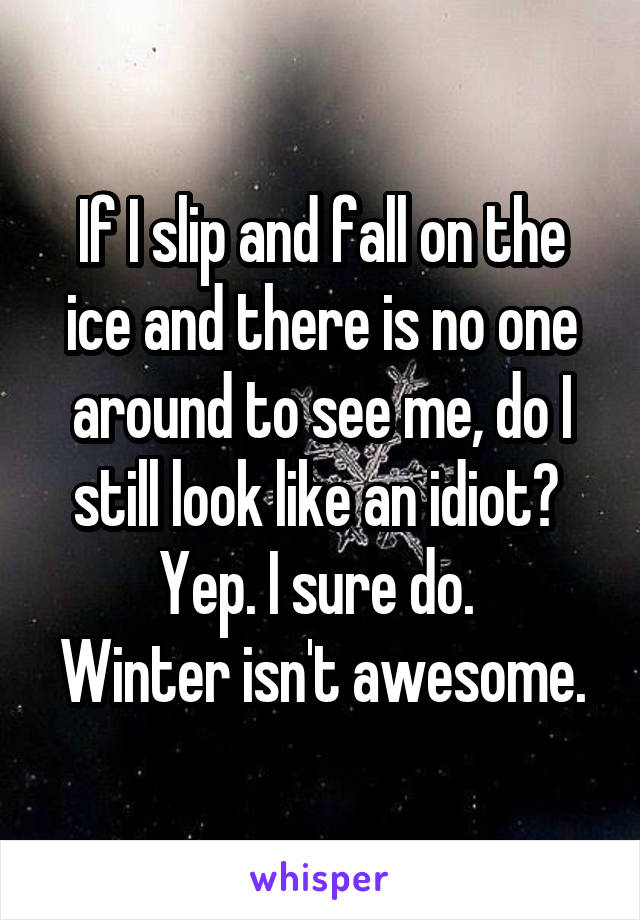 If I slip and fall on the ice and there is no one around to see me, do I still look like an idiot?  Yep. I sure do.  Winter isn't awesome.