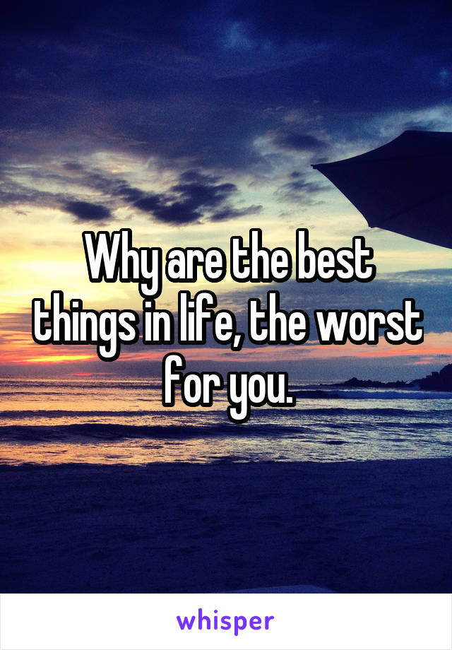 Why are the best things in life, the worst for you.