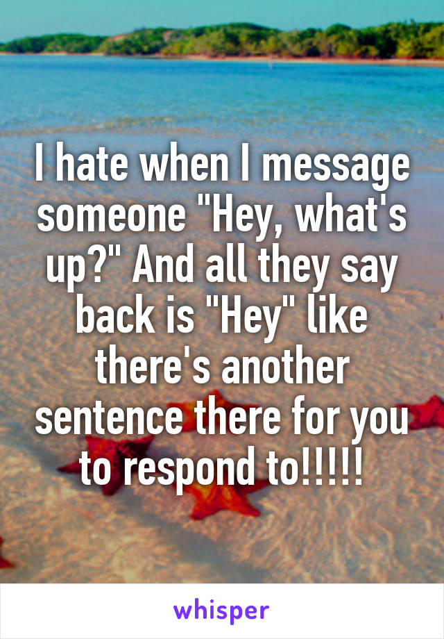 "I hate when I message someone ""Hey, what's up?"" And all they say back is ""Hey"" like there's another sentence there for you to respond to!!!!!"