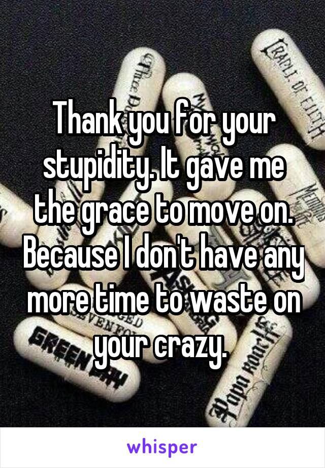 Thank you for your stupidity. It gave me the grace to move on. Because I don't have any more time to waste on your crazy.