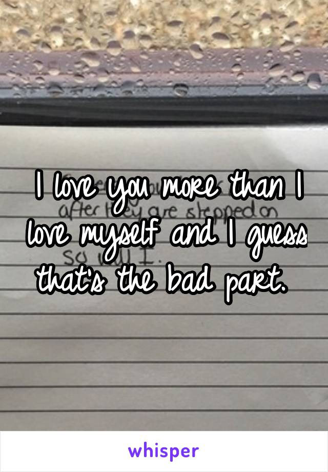 I love you more than I love myself and I guess that's the bad part.