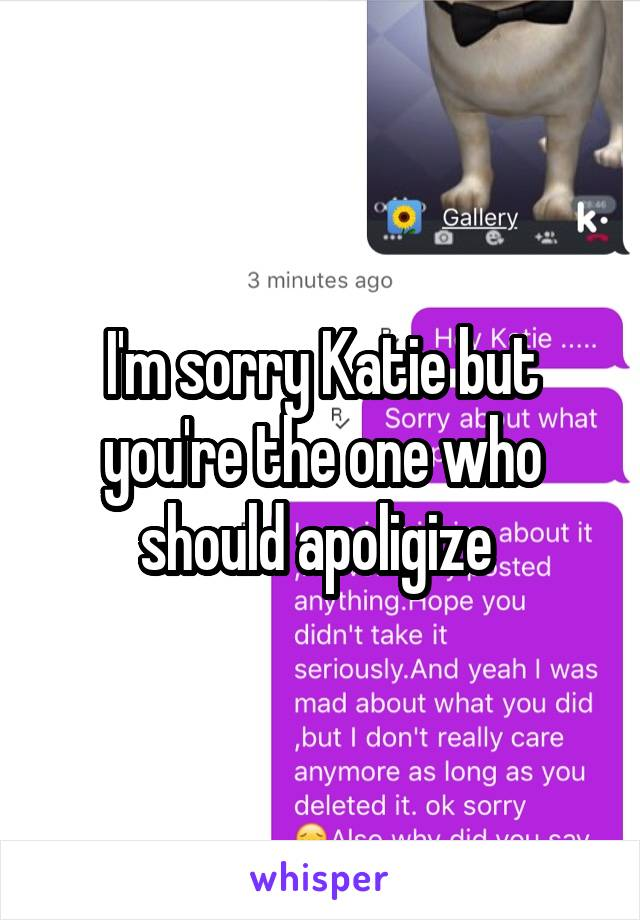 I'm sorry Katie but you're the one who should apoligize
