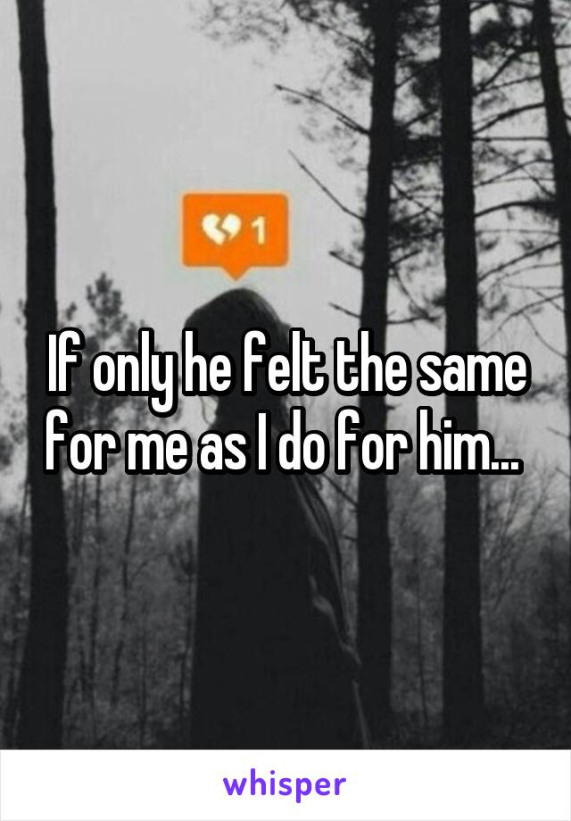 If only he felt the same for me as I do for him...