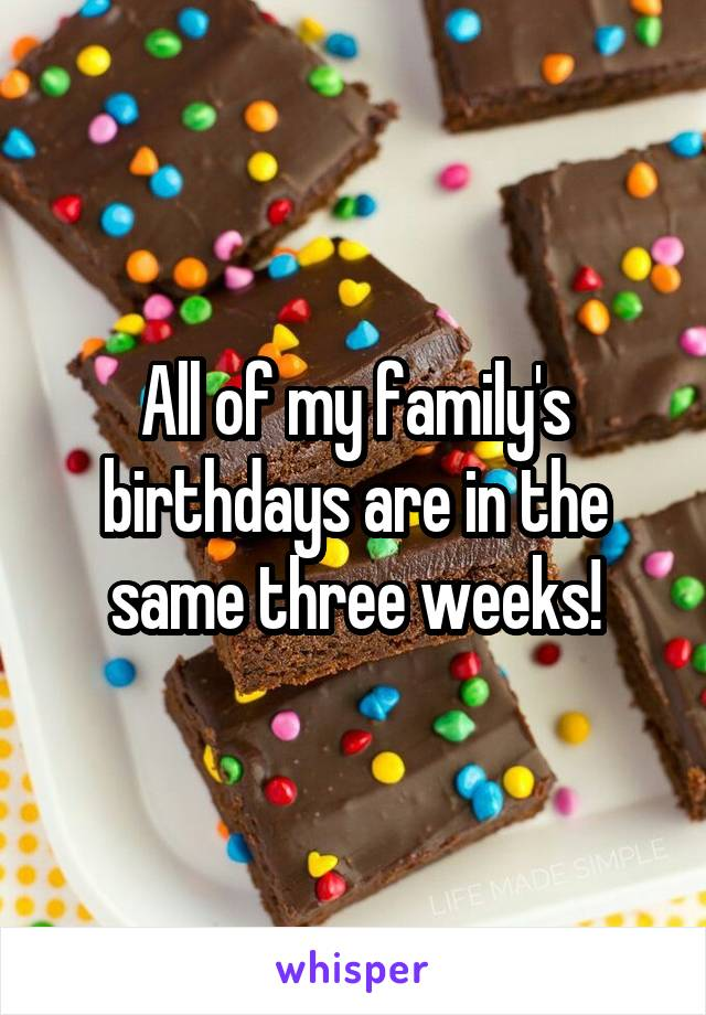 All of my family's birthdays are in the same three weeks!