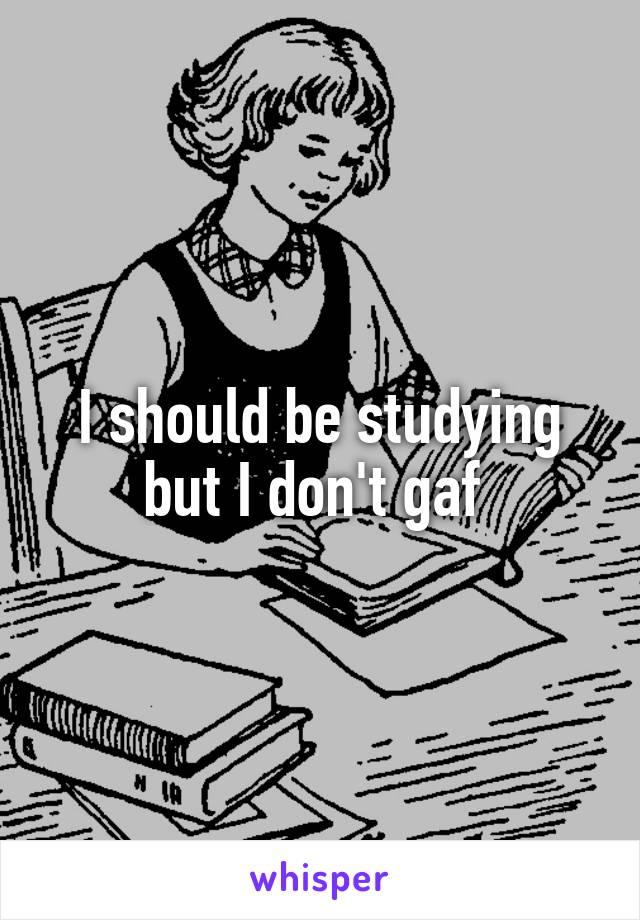 I should be studying but I don't gaf