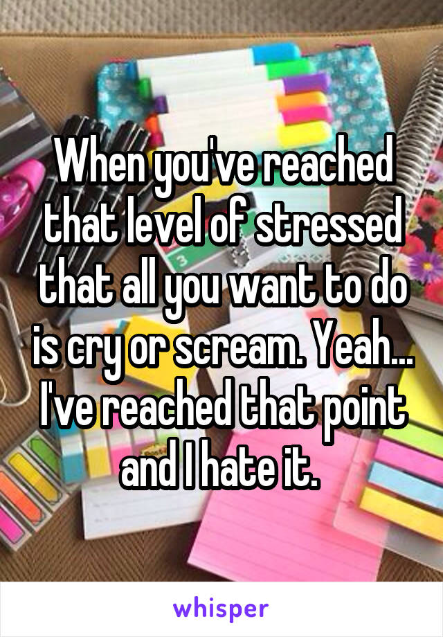 When you've reached that level of stressed that all you want to do is cry or scream. Yeah... I've reached that point and I hate it.