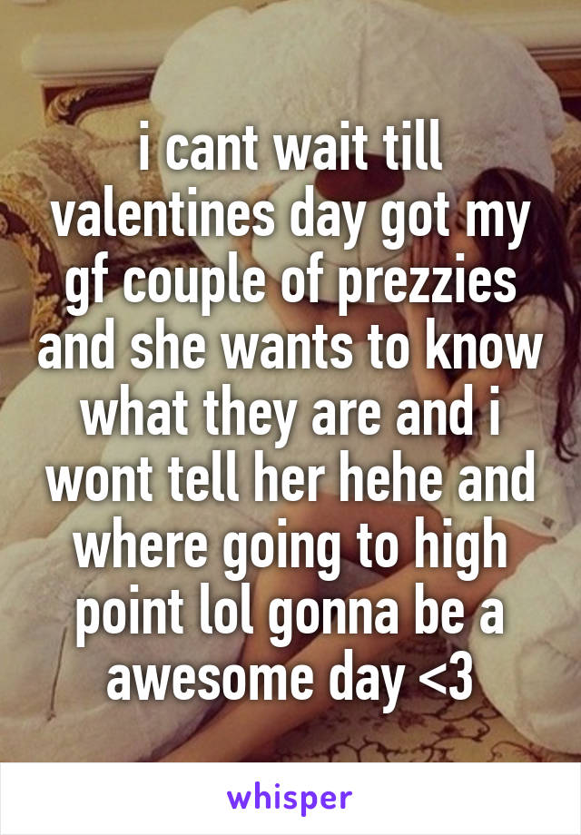 i cant wait till valentines day got my gf couple of prezzies and she wants to know what they are and i wont tell her hehe and where going to high point lol gonna be a awesome day <3