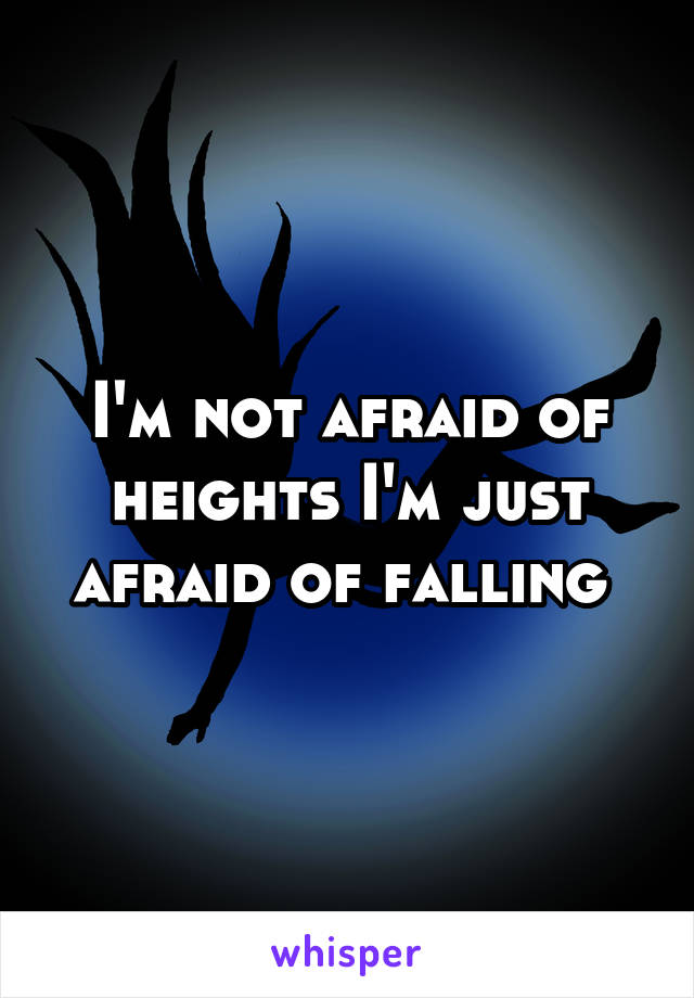 I'm not afraid of heights I'm just afraid of falling