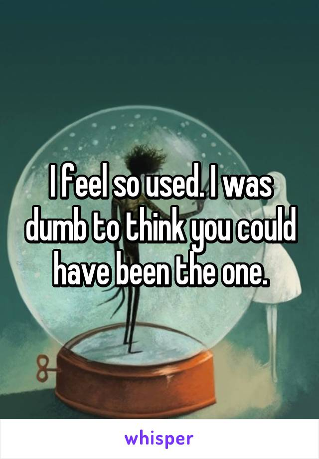 I feel so used. I was dumb to think you could have been the one.