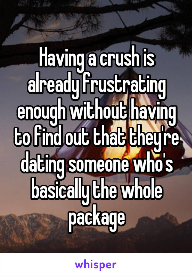 Having a crush is already frustrating enough without having to find out that they're dating someone who's basically the whole package