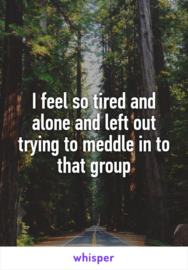 I feel so tired and alone and left out trying to meddle in to that group