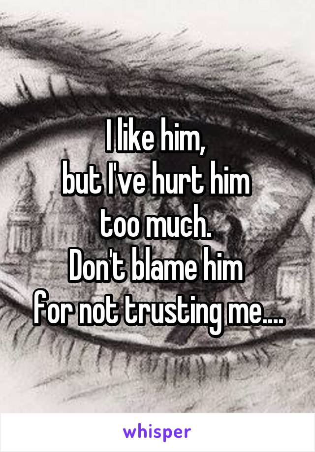 I like him,  but I've hurt him  too much.  Don't blame him  for not trusting me....