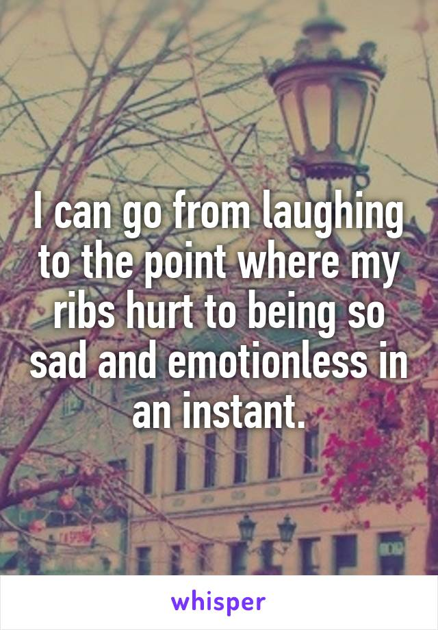I can go from laughing to the point where my ribs hurt to being so sad and emotionless in an instant.