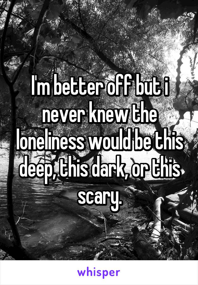 I'm better off but i never knew the loneliness would be this deep, this dark, or this scary.