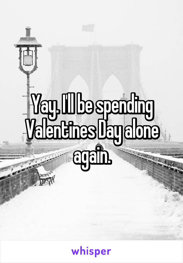 Yay. I'll be spending Valentines Day alone again.