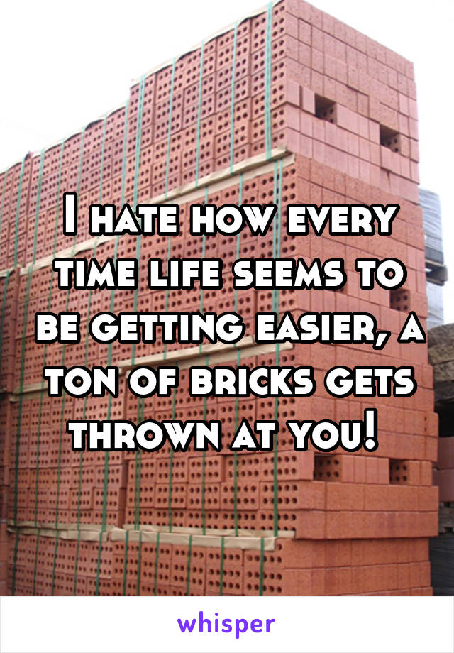 I hate how every time life seems to be getting easier, a ton of bricks gets thrown at you!