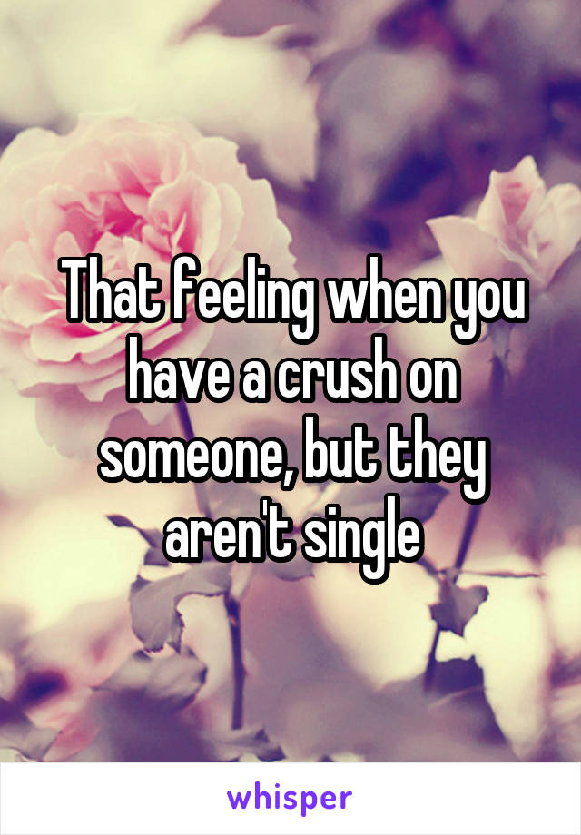 That feeling when you have a crush on someone, but they aren't single