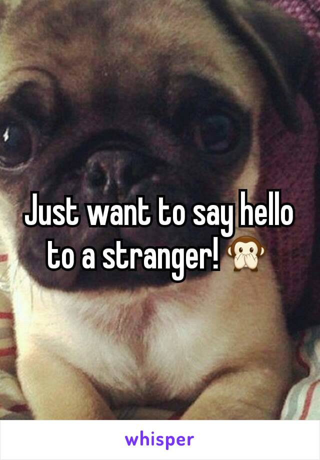 Just want to say hello to a stranger!🙊