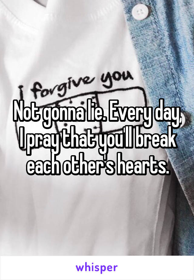Not gonna lie. Every day, I pray that you'll break each other's hearts.