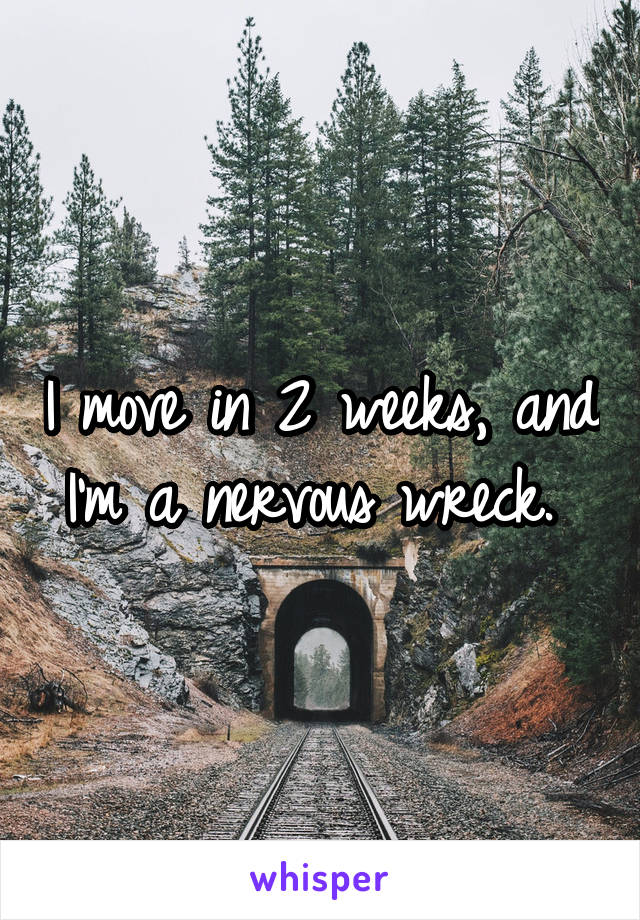 I move in 2 weeks, and I'm a nervous wreck.