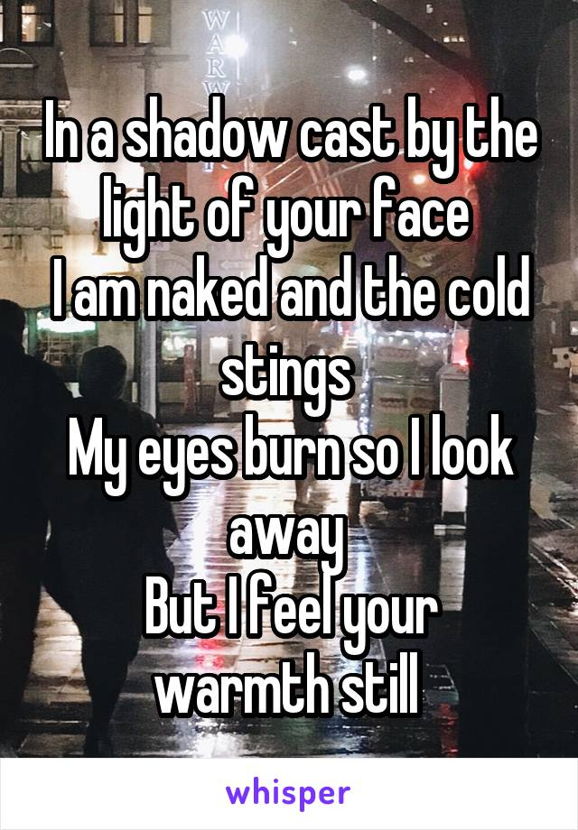 In a shadow cast by the light of your face  I am naked and the cold stings  My eyes burn so I look away  But I feel your warmth still