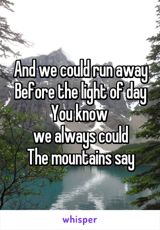 And we could run away Before the light of day You know  we always could The mountains say