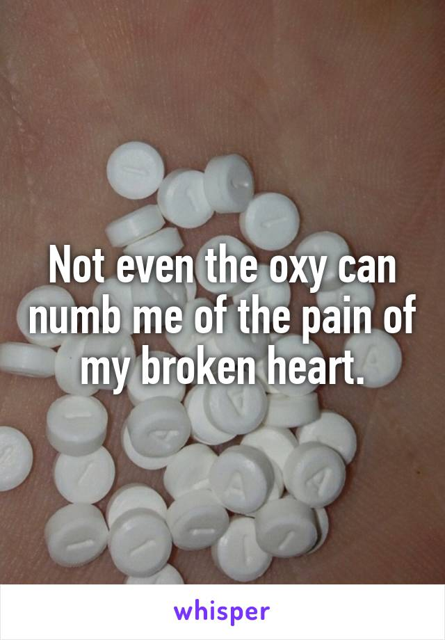 Not even the oxy can numb me of the pain of my broken heart.