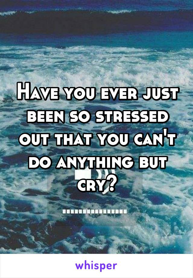 Have you ever just been so stressed out that you can't do anything but cry?