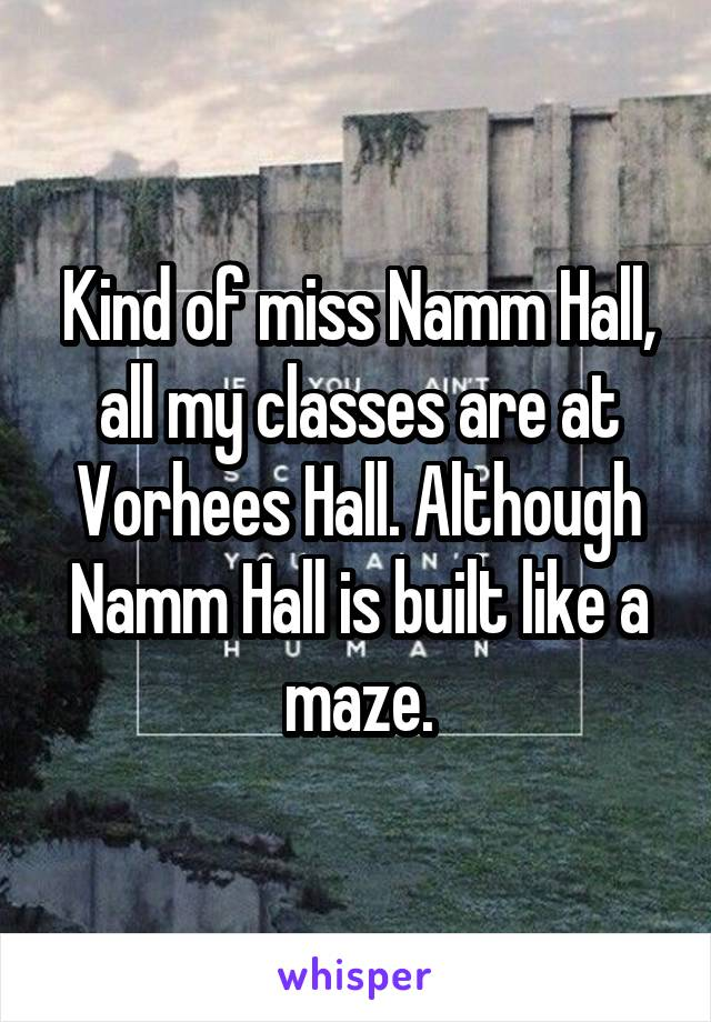Kind of miss Namm Hall, all my classes are at Vorhees Hall. Although Namm Hall is built like a maze.