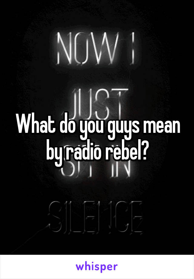 What do you guys mean by radio rebel?