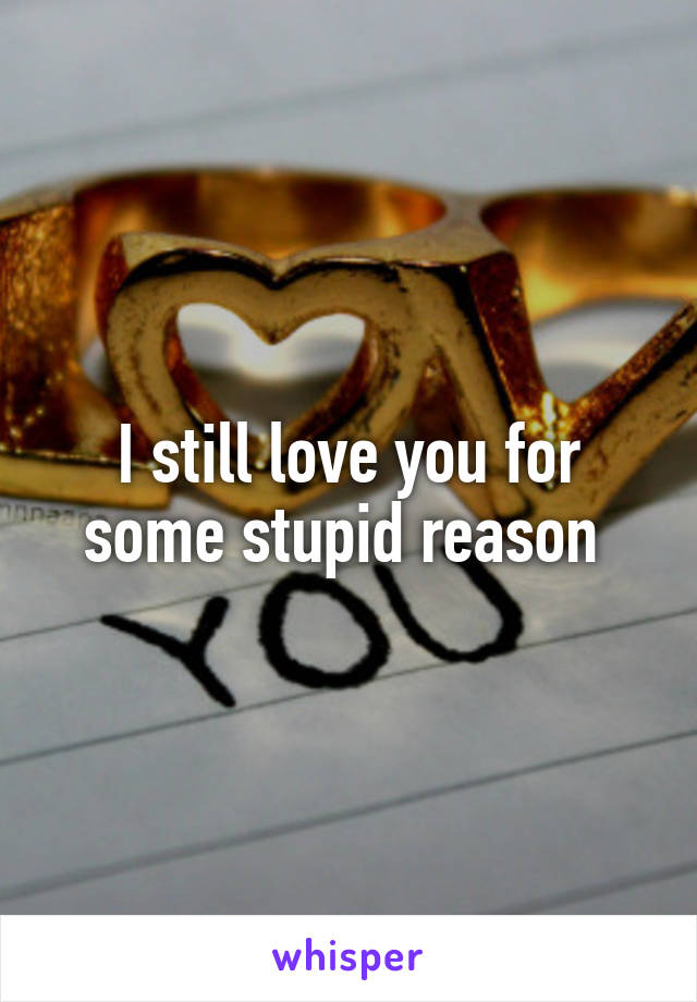 I still love you for some stupid reason