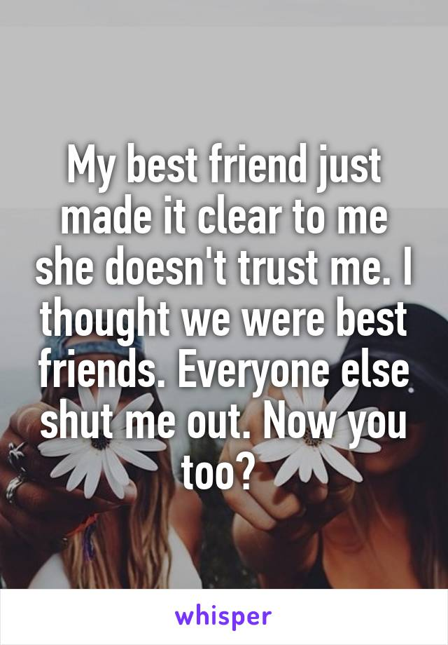 My best friend just made it clear to me she doesn't trust me. I thought we were best friends. Everyone else shut me out. Now you too?