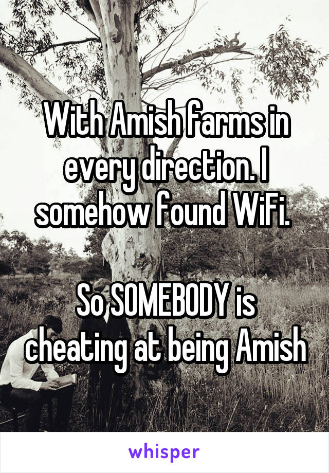 With Amish farms in every direction. I somehow found WiFi.   So SOMEBODY is cheating at being Amish