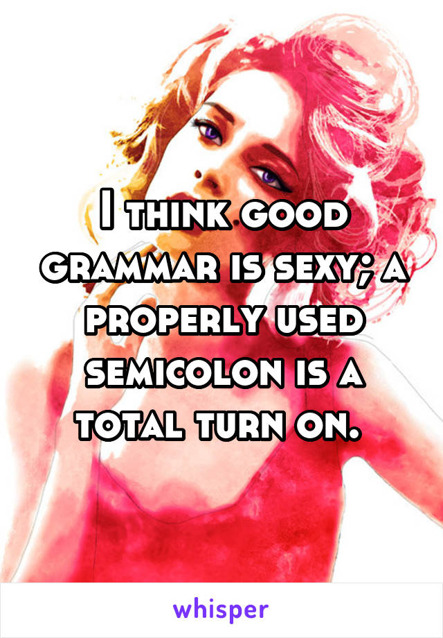 I think good grammar is sexy; a properly used semicolon is a total turn on.