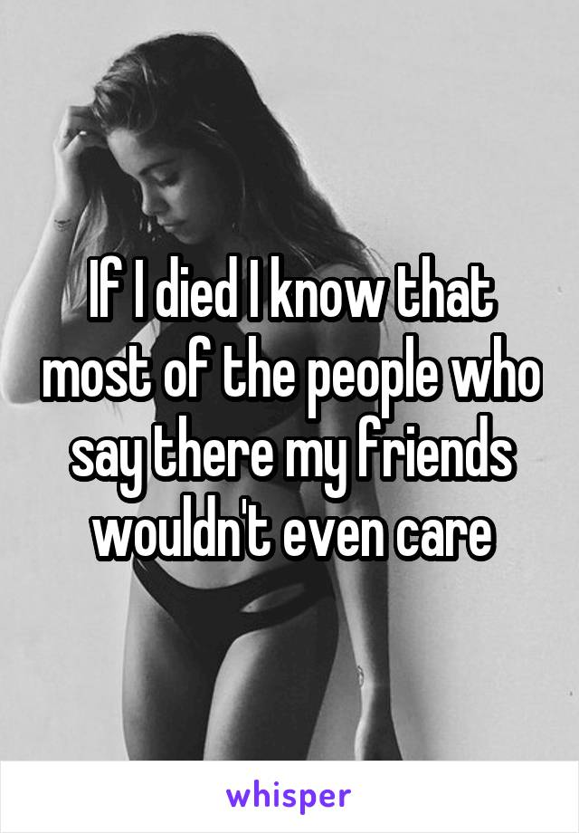 If I died I know that most of the people who say there my friends wouldn't even care