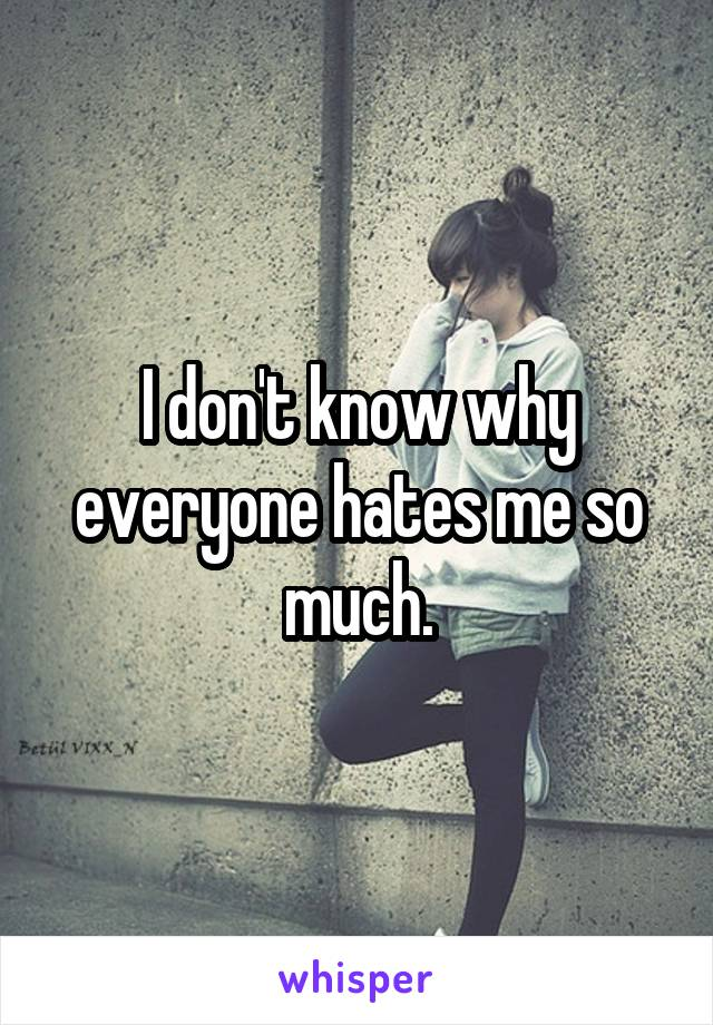 I don't know why everyone hates me so much.