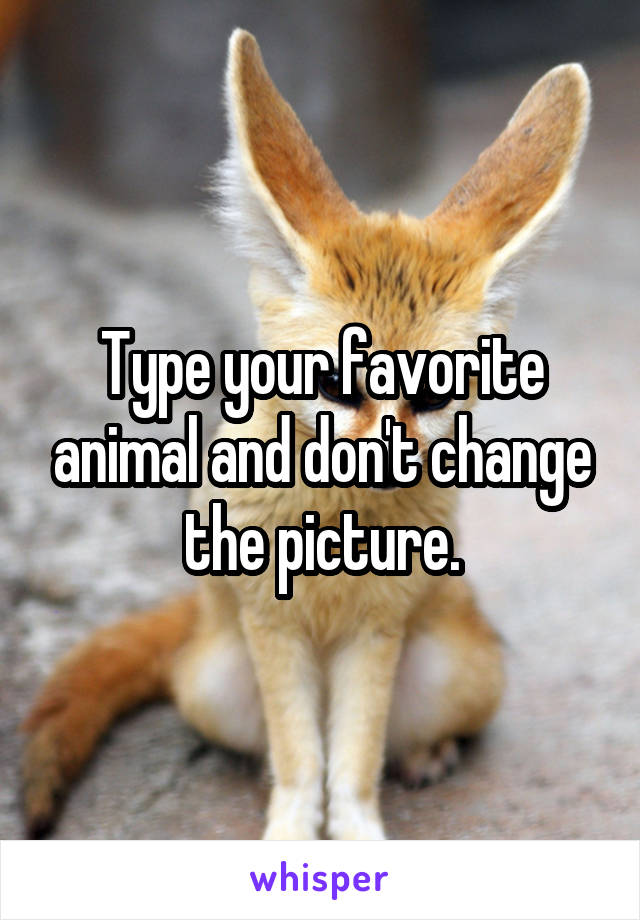 Type your favorite animal and don't change the picture.