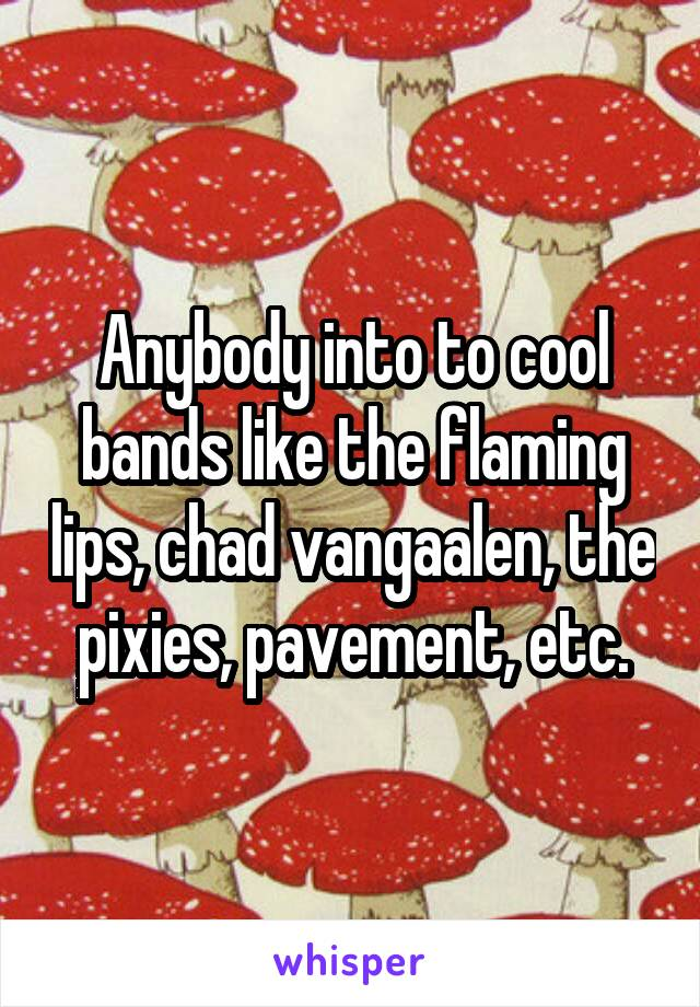 Anybody into to cool bands like the flaming lips, chad vangaalen, the pixies, pavement, etc.