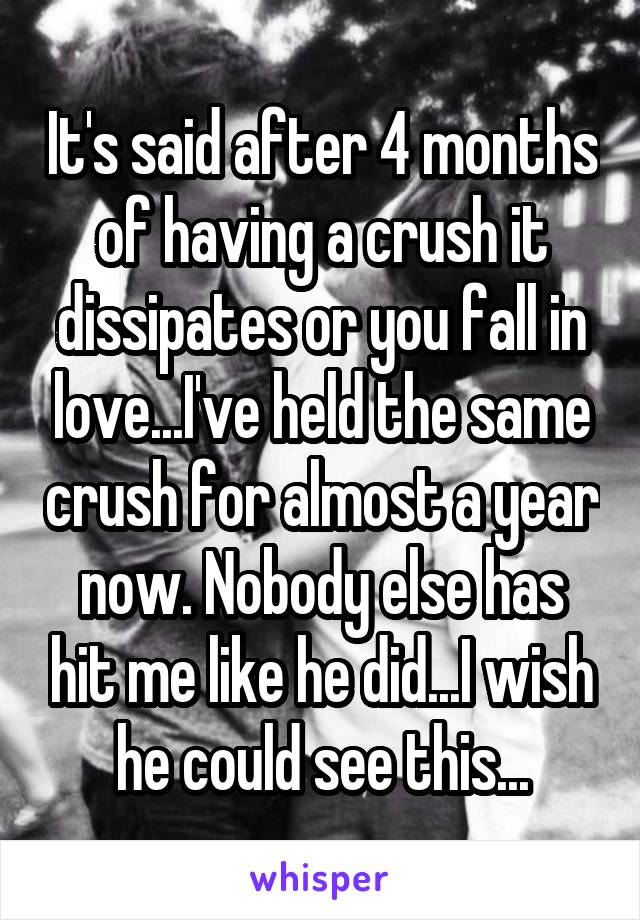 It's said after 4 months of having a crush it dissipates or you fall in love...I've held the same crush for almost a year now. Nobody else has hit me like he did...I wish he could see this...