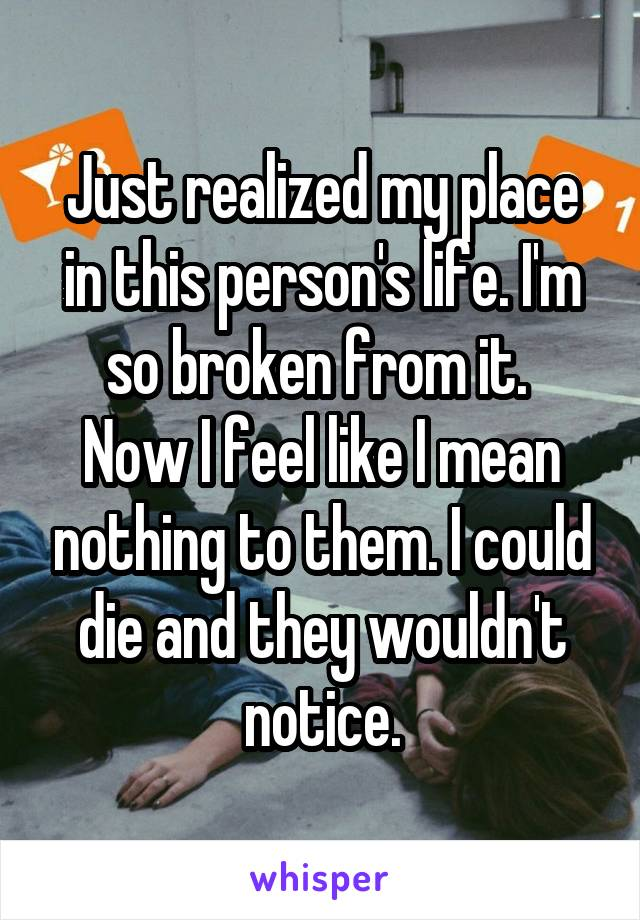 Just realized my place in this person's life. I'm so broken from it.  Now I feel like I mean nothing to them. I could die and they wouldn't notice.
