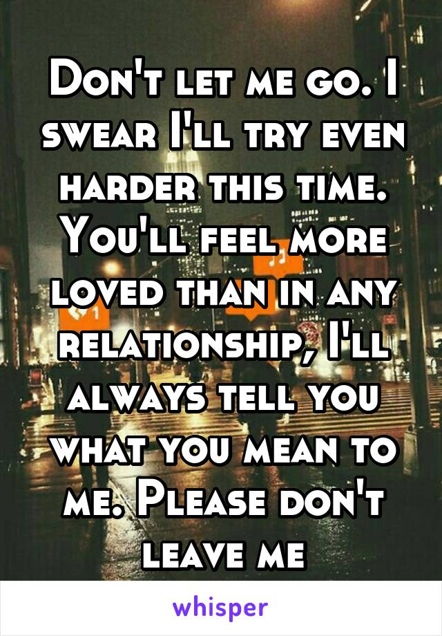 Don't let me go. I swear I'll try even harder this time. You'll feel more loved than in any relationship, I'll always tell you what you mean to me. Please don't leave me