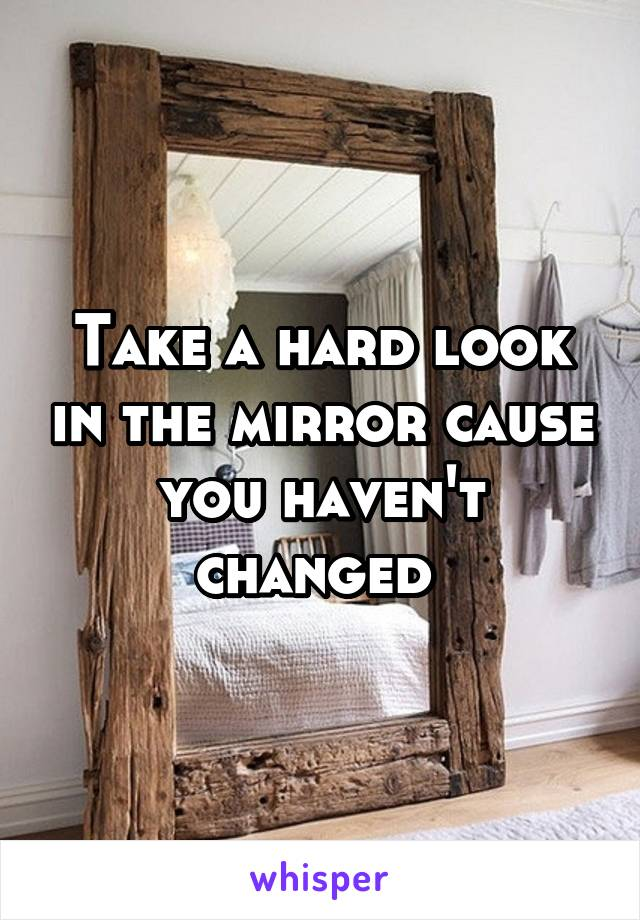 Take a hard look in the mirror cause you haven't changed