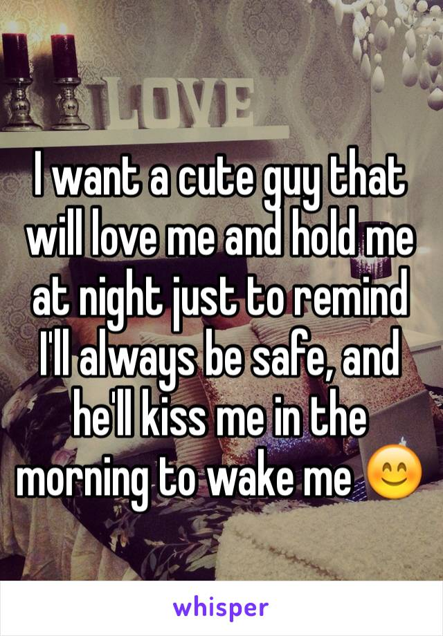 I want a cute guy that will love me and hold me at night just to remind I'll always be safe, and he'll kiss me in the morning to wake me 😊
