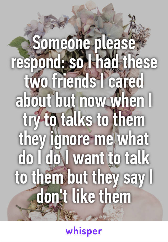 Someone please respond: so I had these two friends I cared about but now when I try to talks to them they ignore me what do I do I want to talk to them but they say I don't like them