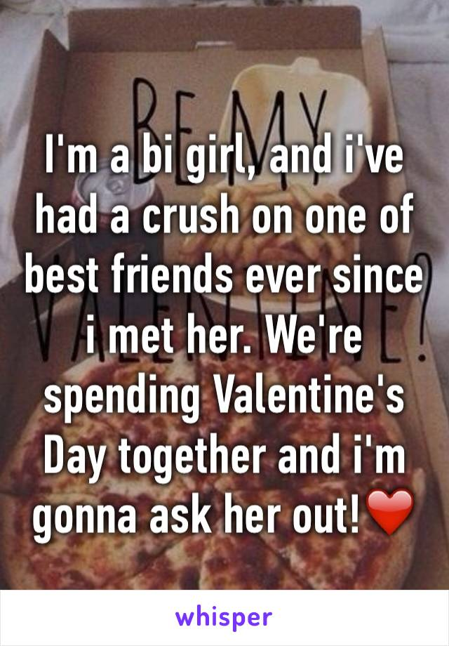 I'm a bi girl, and i've had a crush on one of best friends ever since i met her. We're spending Valentine's Day together and i'm gonna ask her out!❤️