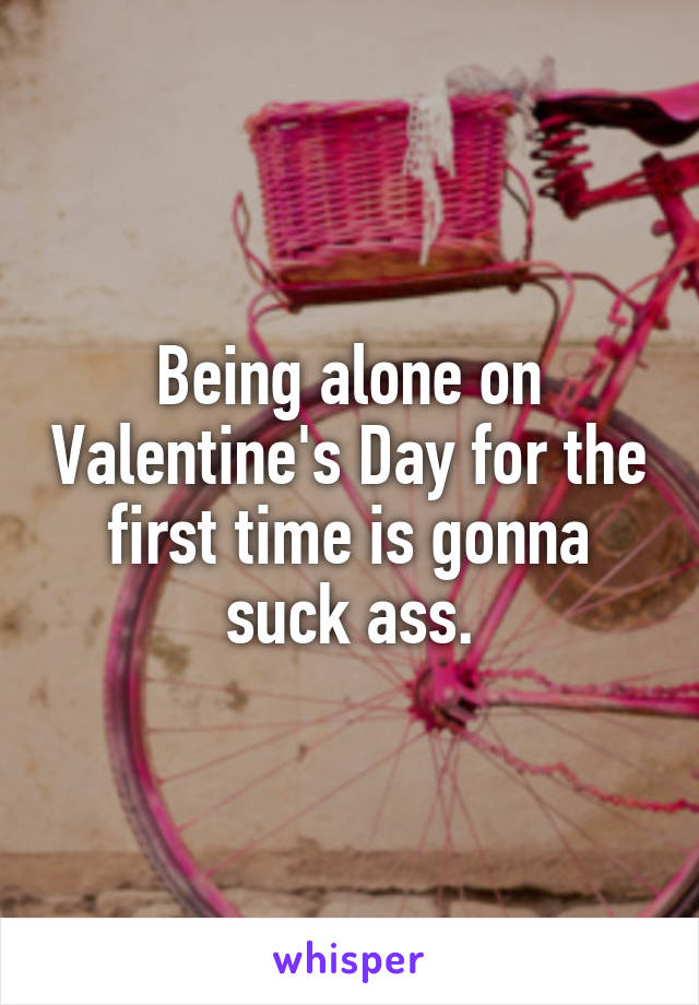 Being alone on Valentine's Day for the first time is gonna suck ass.