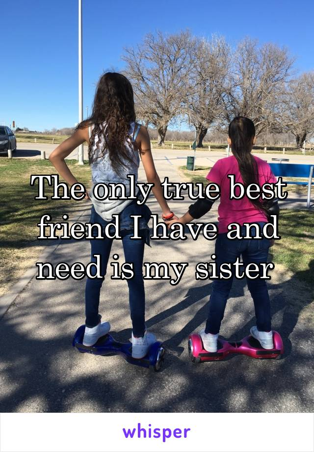 The only true best friend I have and need is my sister